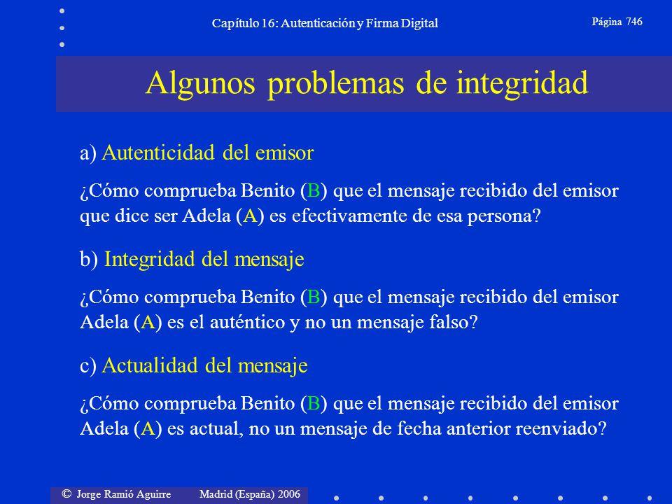 © Jorge Ramió Aguirre Madrid (España) 2006 Capítulo 16: Autenticación y Firma Digital Página 746 Algunos problemas de integridad a) Autenticidad del e