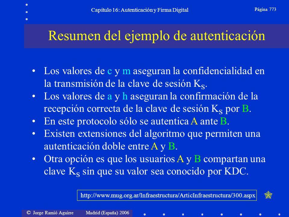 © Jorge Ramió Aguirre Madrid (España) 2006 Capítulo 16: Autenticación y Firma Digital Página 773 Resumen del ejemplo de autenticación Los valores de c