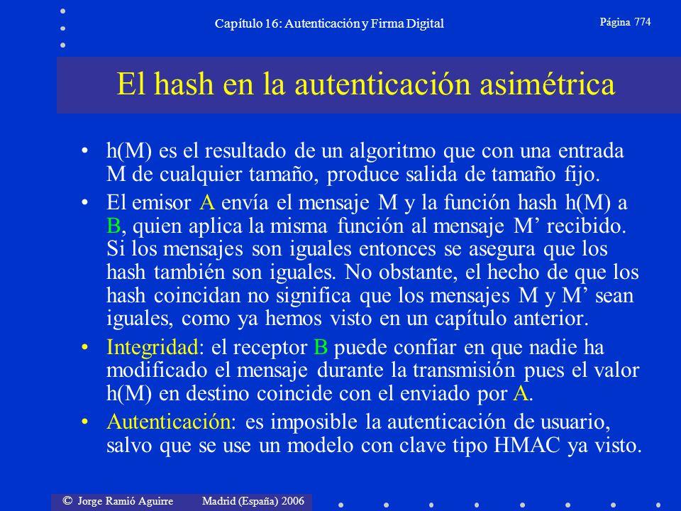 © Jorge Ramió Aguirre Madrid (España) 2006 Capítulo 16: Autenticación y Firma Digital Página 774 El hash en la autenticación asimétrica h(M) es el res