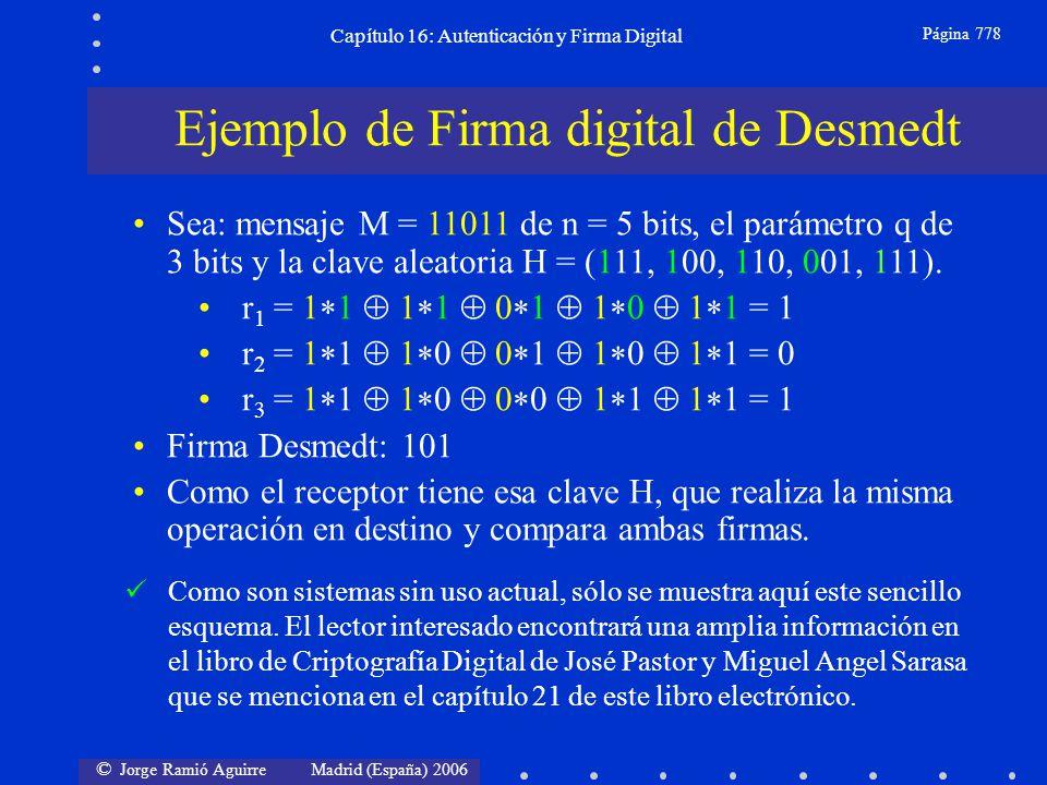 © Jorge Ramió Aguirre Madrid (España) 2006 Capítulo 16: Autenticación y Firma Digital Página 778 Ejemplo de Firma digital de Desmedt Sea: mensaje M =