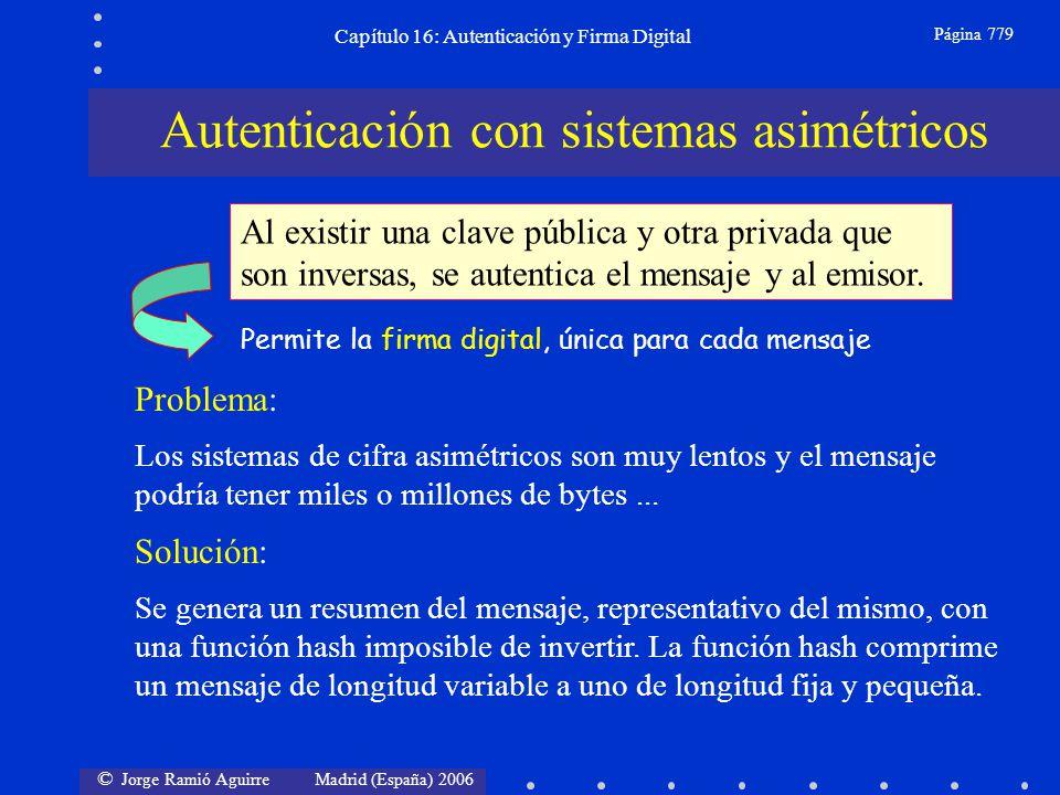 © Jorge Ramió Aguirre Madrid (España) 2006 Capítulo 16: Autenticación y Firma Digital Página 779 Autenticación con sistemas asimétricos Problema: Los