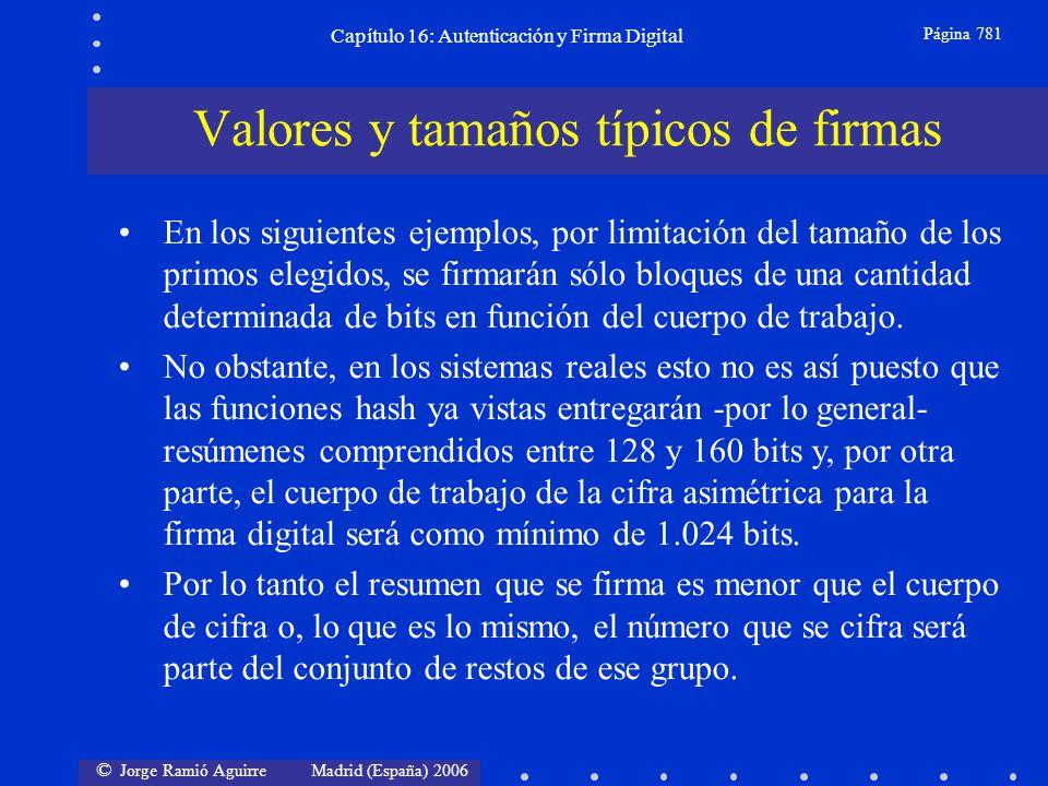 © Jorge Ramió Aguirre Madrid (España) 2006 Capítulo 16: Autenticación y Firma Digital Página 781 En los siguientes ejemplos, por limitación del tamaño