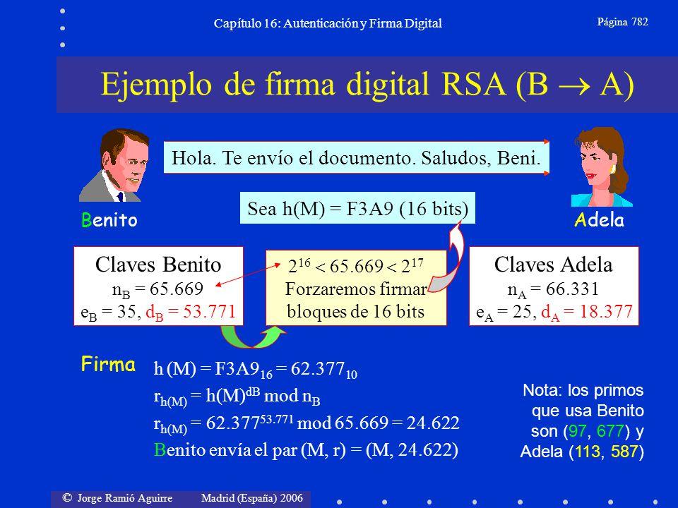 © Jorge Ramió Aguirre Madrid (España) 2006 Capítulo 16: Autenticación y Firma Digital Página 782 AdelaBenito Hola. Te envío el documento. Saludos, Ben