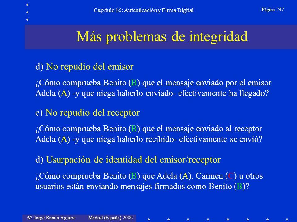 © Jorge Ramió Aguirre Madrid (España) 2006 Capítulo 16: Autenticación y Firma Digital Página 747 Más problemas de integridad d) No repudio del emisor