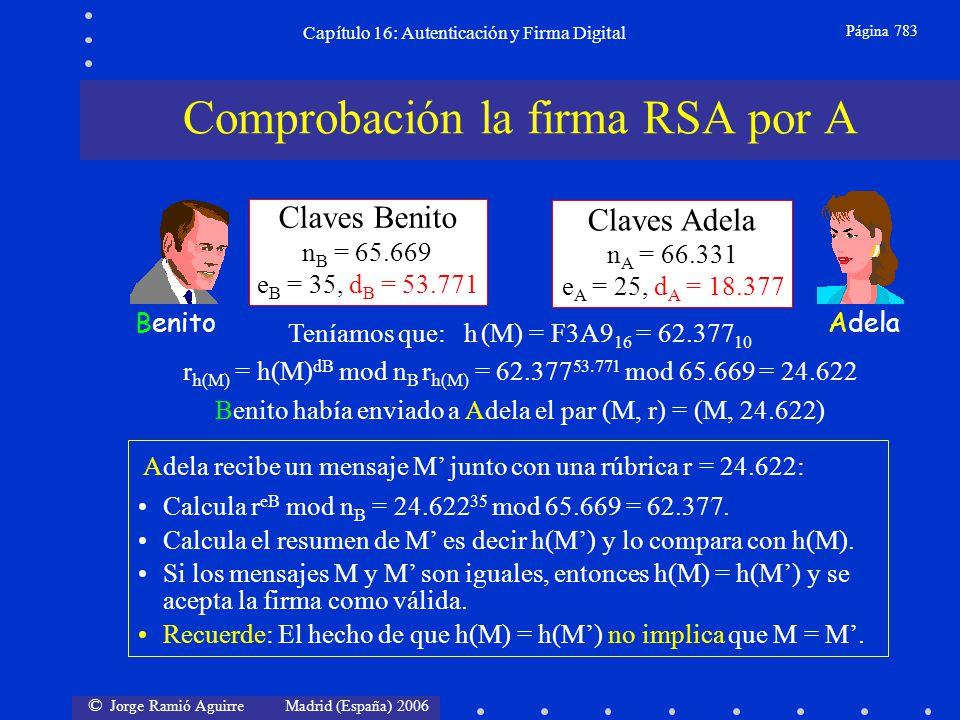 © Jorge Ramió Aguirre Madrid (España) 2006 Capítulo 16: Autenticación y Firma Digital Página 783 Claves Benito n B = 65.669 e B = 35, d B = 53.771 Cla