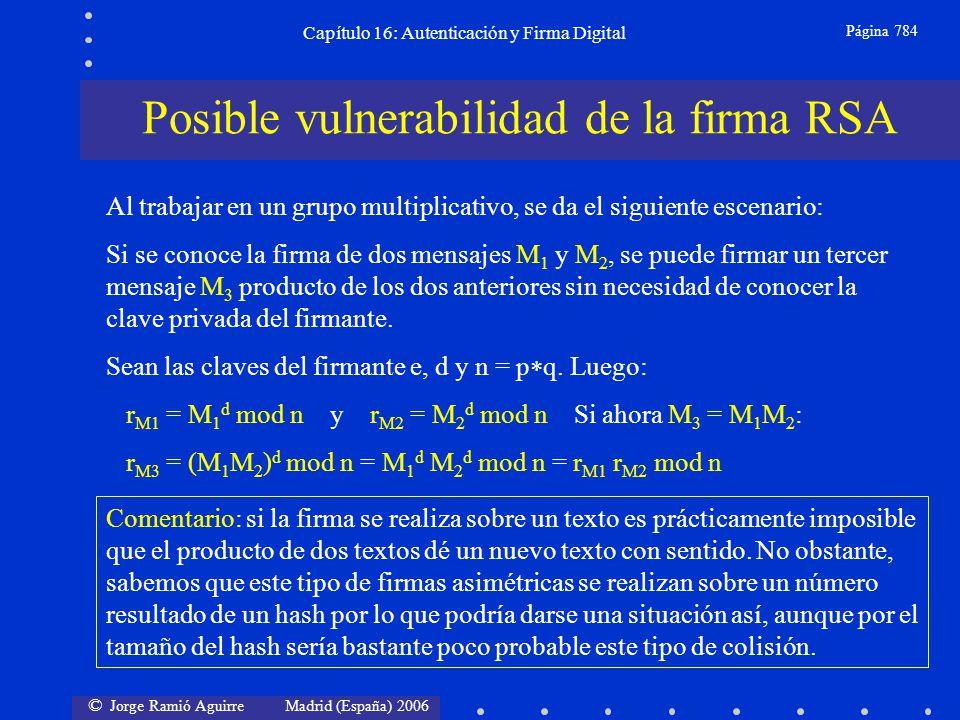 © Jorge Ramió Aguirre Madrid (España) 2006 Capítulo 16: Autenticación y Firma Digital Página 784 Al trabajar en un grupo multiplicativo, se da el sigu
