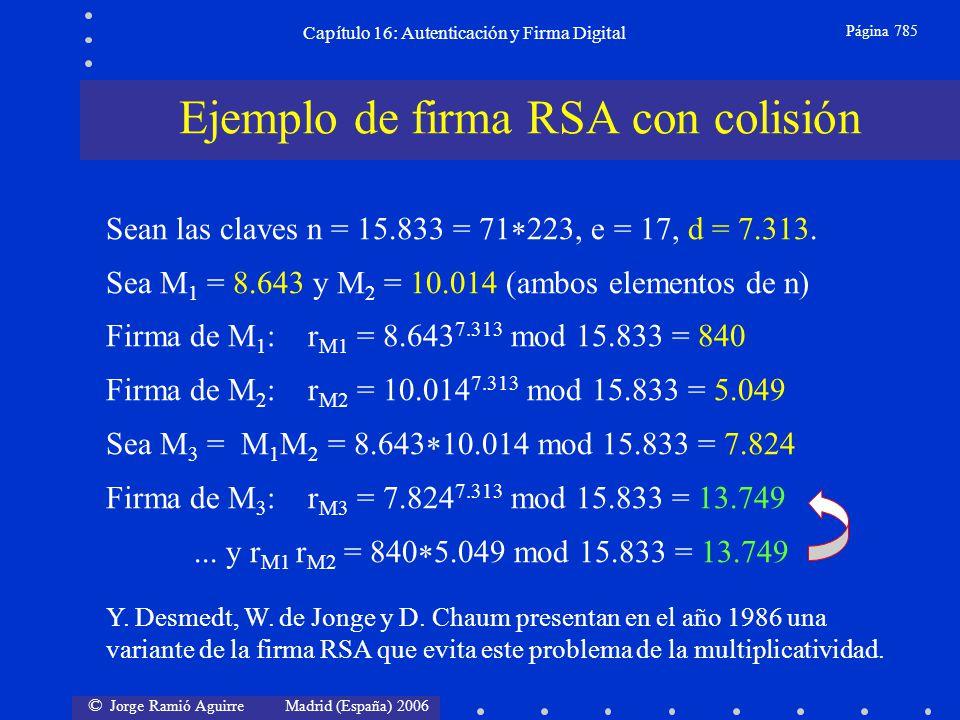 © Jorge Ramió Aguirre Madrid (España) 2006 Capítulo 16: Autenticación y Firma Digital Página 785 Sean las claves n = 15.833 = 71 223, e = 17, d = 7.31