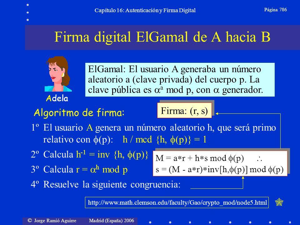 © Jorge Ramió Aguirre Madrid (España) 2006 Capítulo 16: Autenticación y Firma Digital Página 786 ElGamal: El usuario A generaba un número aleatorio a