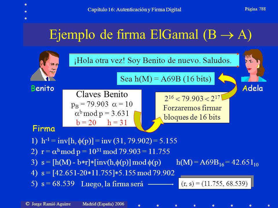 © Jorge Ramió Aguirre Madrid (España) 2006 Capítulo 16: Autenticación y Firma Digital Página 788 AdelaBenito ¡Hola otra vez! Soy Benito de nuevo. Salu