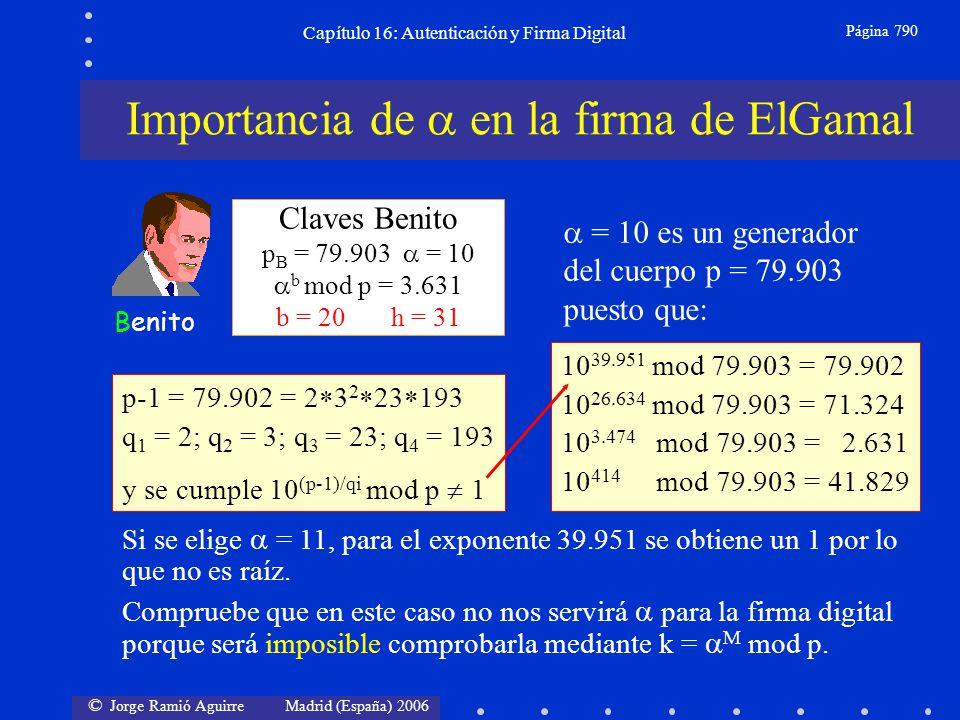 © Jorge Ramió Aguirre Madrid (España) 2006 Capítulo 16: Autenticación y Firma Digital Página 790 Claves Benito p B = 79.903 = 10 b mod p = 3.631 b = 2
