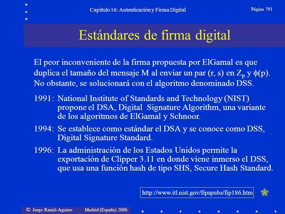 © Jorge Ramió Aguirre Madrid (España) 2006 Capítulo 16: Autenticación y Firma Digital Página 791 1991:National Institute of Standards and Technology (