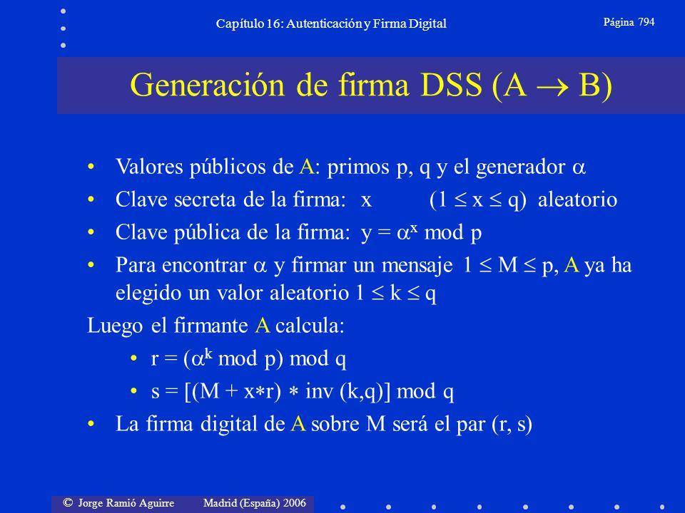 © Jorge Ramió Aguirre Madrid (España) 2006 Capítulo 16: Autenticación y Firma Digital Página 794 Valores públicos de A: primos p, q y el generador Cla