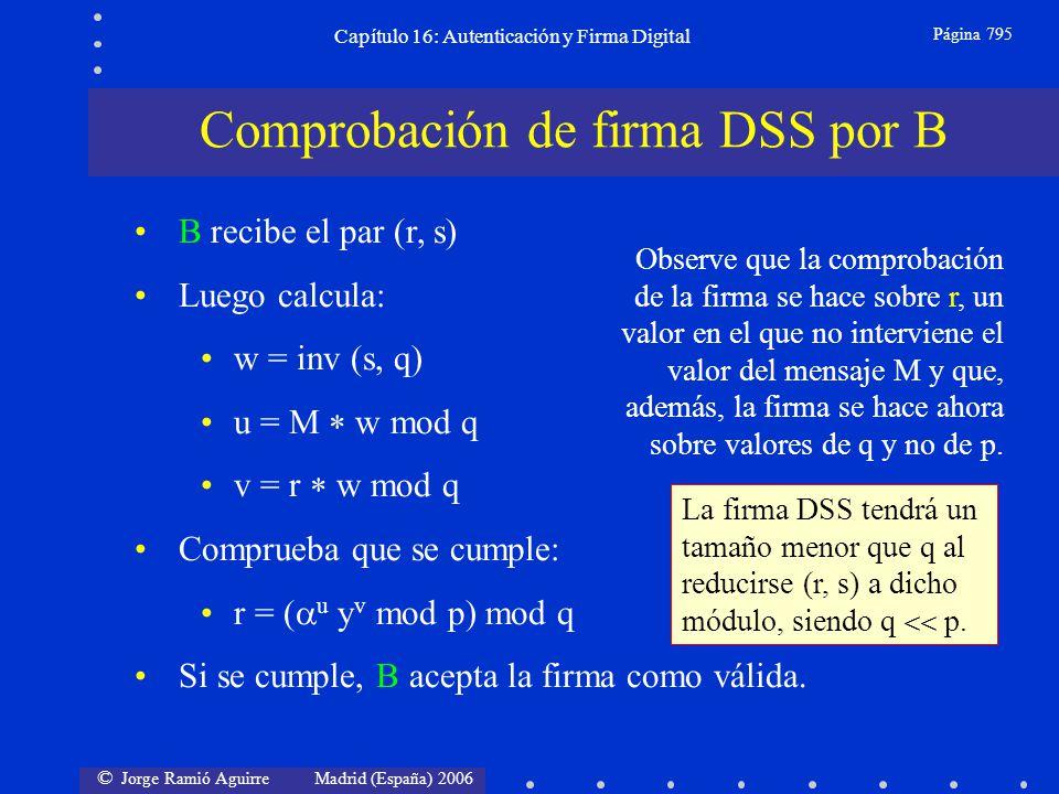 © Jorge Ramió Aguirre Madrid (España) 2006 Capítulo 16: Autenticación y Firma Digital Página 795 B recibe el par (r, s) Luego calcula: w = inv (s, q)