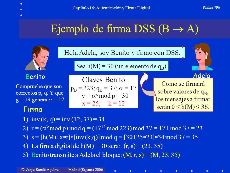 © Jorge Ramió Aguirre Madrid (España) 2006 Capítulo 16: Autenticación y Firma Digital Página 796 Adela Benito Hola Adela, soy Benito y firmo con DSS.