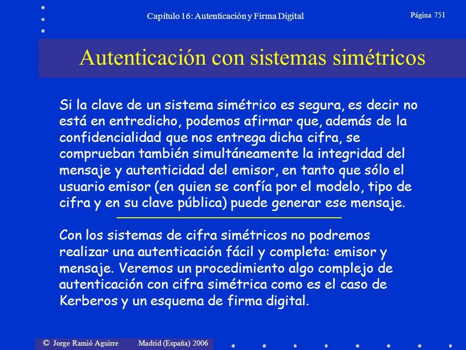 © Jorge Ramió Aguirre Madrid (España) 2006 Capítulo 16: Autenticación y Firma Digital Página 751 Autenticación con sistemas simétricos Si la clave de