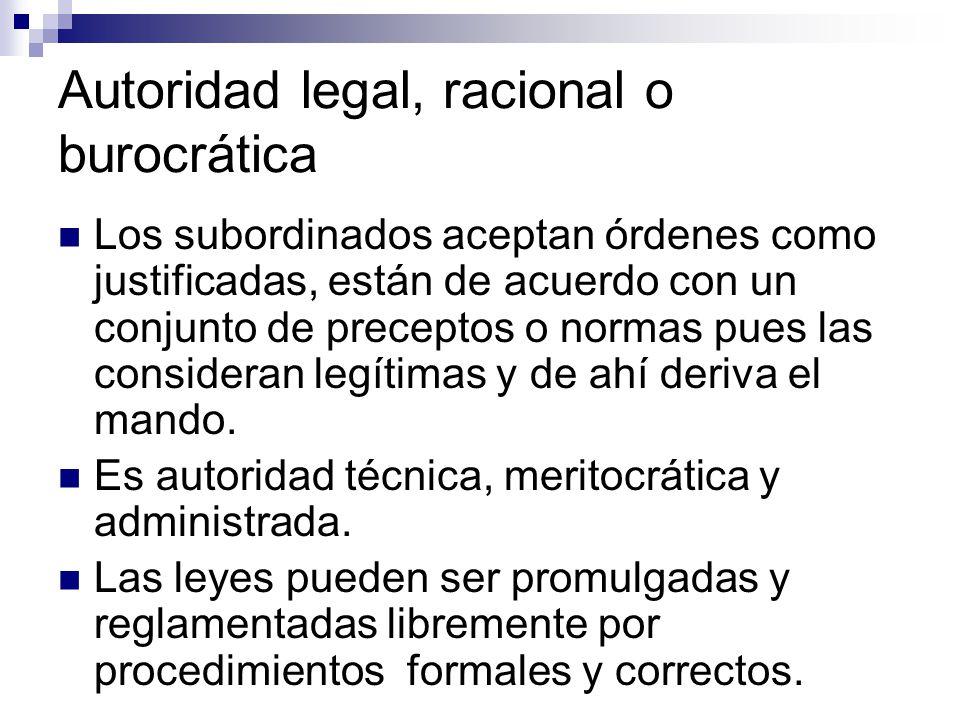 La legitimidad del poder racional y legal, se basa en normas definidas racionalmente.