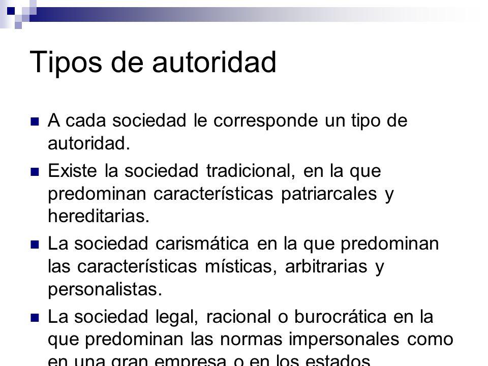 Tipos de autoridad según Weber: Autoridad tradicional Autoridad carismática Autoridad racional, legal o burocrática