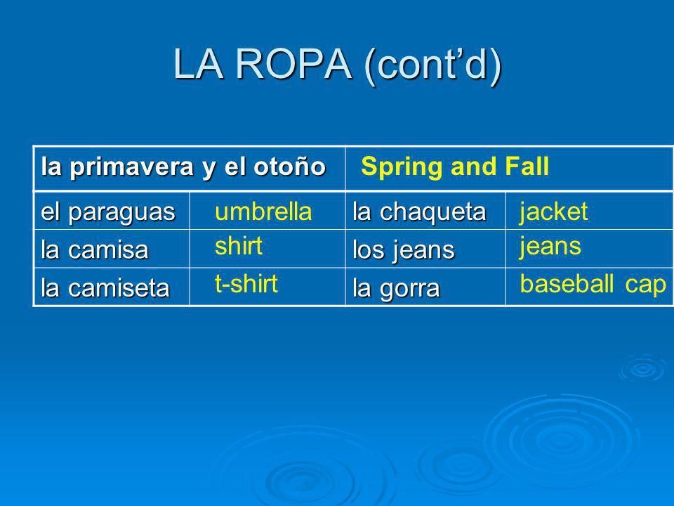 LA ROPA (contd) la primavera y el otoño Spring and Fall el paraguas la chaqueta la camisa los jeans la camiseta la gorra umbrella shirt t-shirt jacket