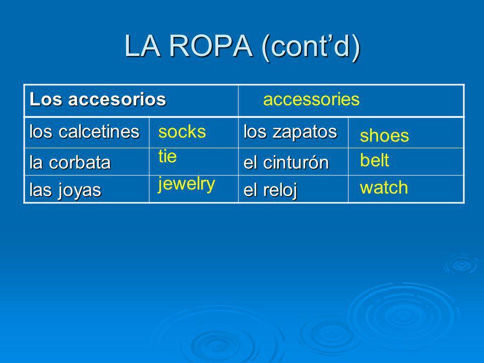 LA ROPA (contd) Los accesorios accessories los calcetines los zapatos la corbata el cinturón las joyas el reloj socks tie jewelry shoes belt watch