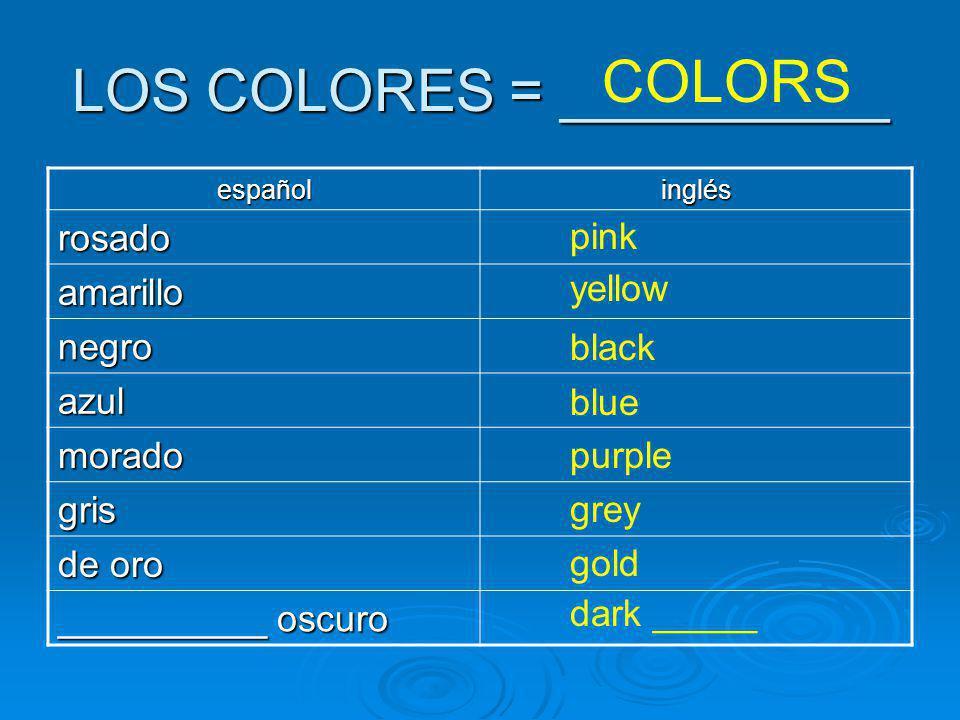 LOS COLORES = __________ COLORS españolinglés rosado amarillo negro azul morado gris de oro __________ oscuro pink yellow black blue purple grey gold