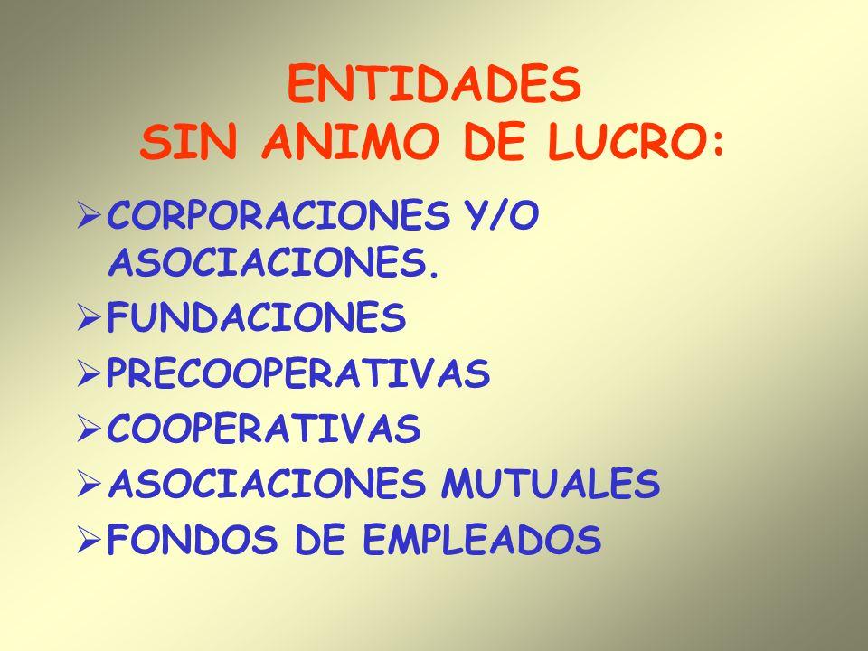 ENTIDADES SIN ANIMO DE LUCRO: CORPORACIONES Y/O ASOCIACIONES. FUNDACIONES PRECOOPERATIVAS COOPERATIVAS ASOCIACIONES MUTUALES FONDOS DE EMPLEADOS