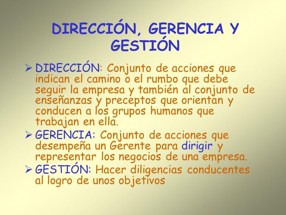 DIRECCIÓN, GERENCIA Y GESTIÓN DIRECCIÓN: Conjunto de acciones que indican el camino o el rumbo que debe seguir la empresa y también al conjunto de ens