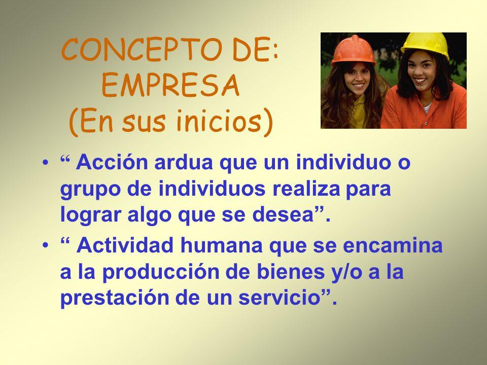 CONCEPTO DE: EMPRESA (En sus inicios) Acción ardua que un individuo o grupo de individuos realiza para lograr algo que se desea. Actividad humana que
