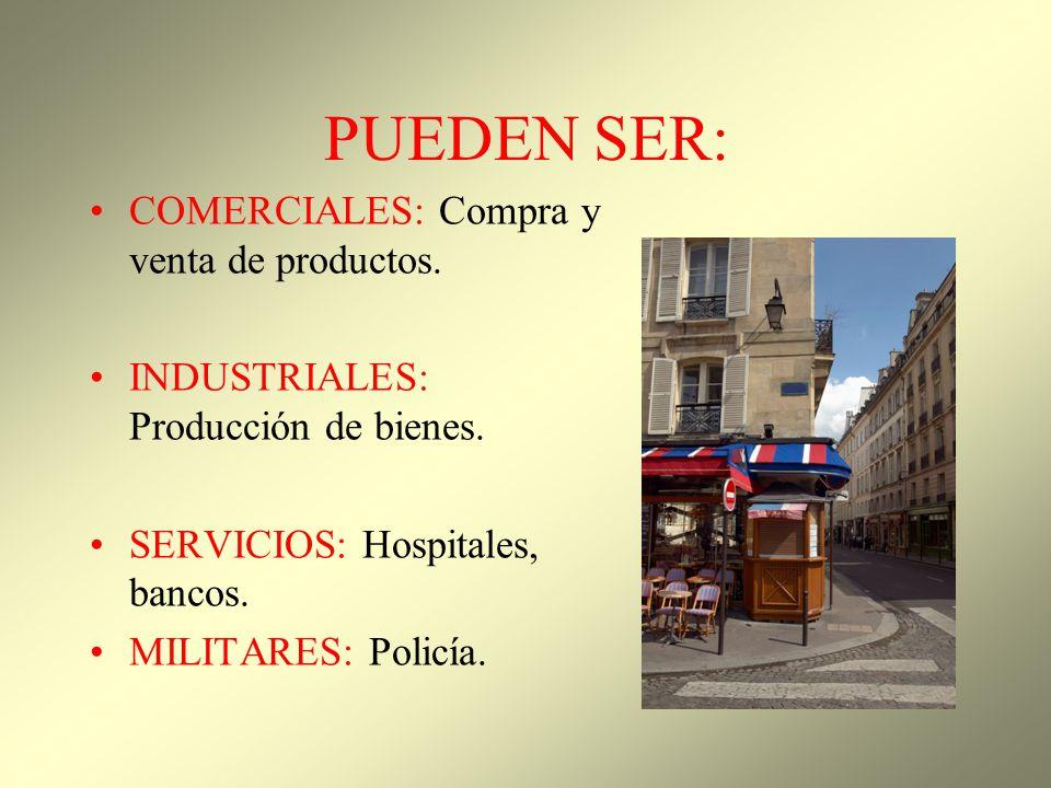 PUEDEN SER: COMERCIALES: Compra y venta de productos. INDUSTRIALES: Producción de bienes. SERVICIOS: Hospitales, bancos. MILITARES: Policía.
