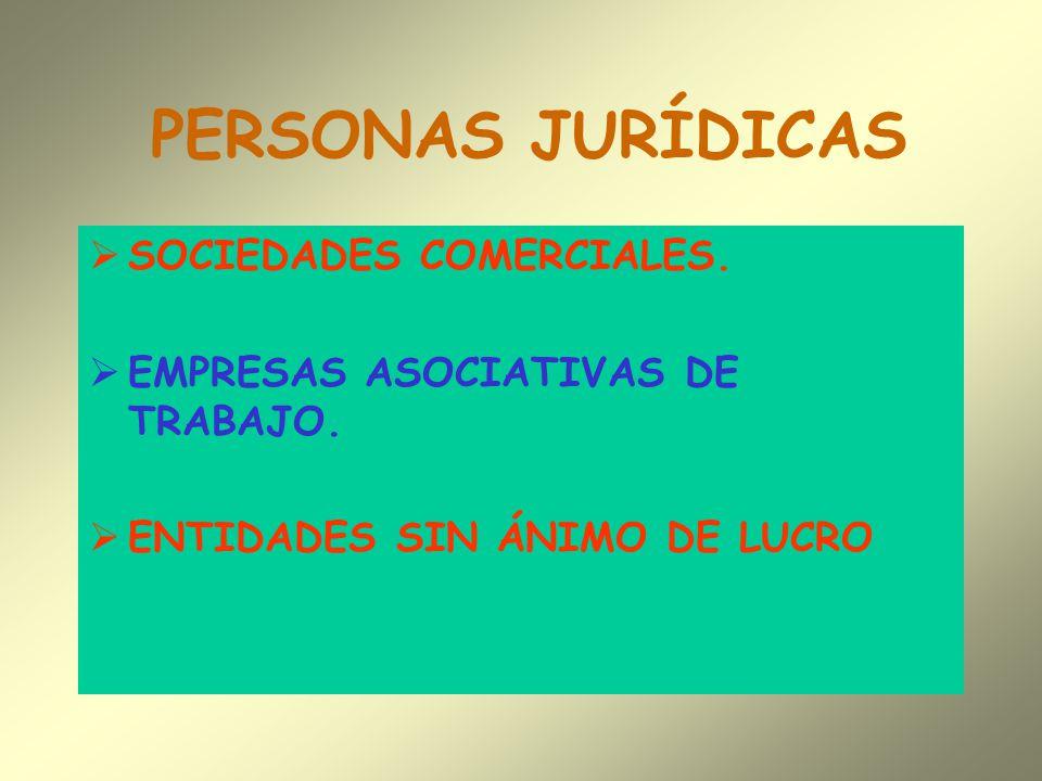 PERSONAS JURÍDICAS SOCIEDADES COMERCIALES. EMPRESAS ASOCIATIVAS DE TRABAJO. ENTIDADES SIN ÁNIMO DE LUCRO
