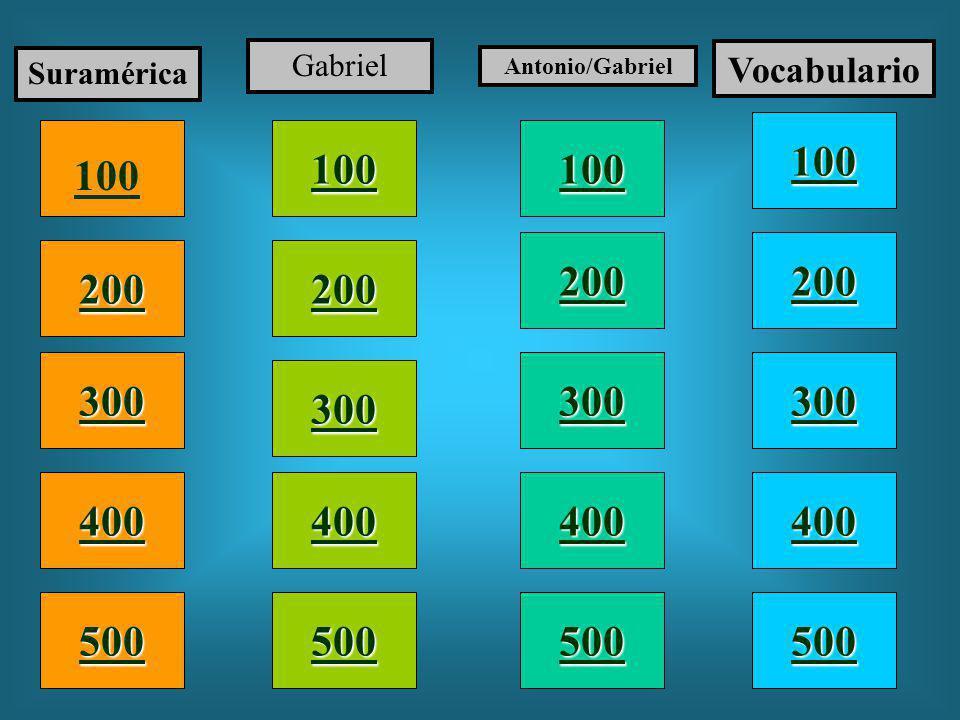100 200 400 300 400 Suramérica Gabriel Antonio/Gabriel Vocabulario 300 200 400 200 100 500 100