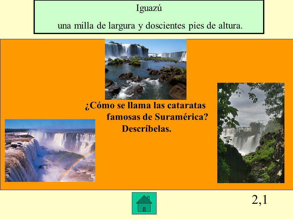 2,1 ¿Cómo se llama las cataratas famosas de Suramérica.