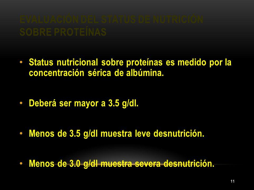 EVALUACIÓN DEL STATUS DE NUTRICIÓN SOBRE PROTEÍNAS 11 Status nutricional sobre proteínas es medido por la concentración sérica de albúmina. Deberá ser