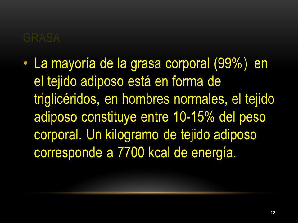 GRASA 12 La mayoría de la grasa corporal (99%) en el tejido adiposo está en forma de triglicéridos, en hombres normales, el tejido adiposo constituye
