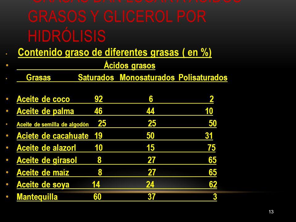 GRASAS DAN LUGAR A ÁCIDOS GRASOS Y GLICEROL POR HIDRÓLISIS 13 Contenido graso de diferentes grasas ( en %) Ácidos grasos Grasas Saturados Monosaturado