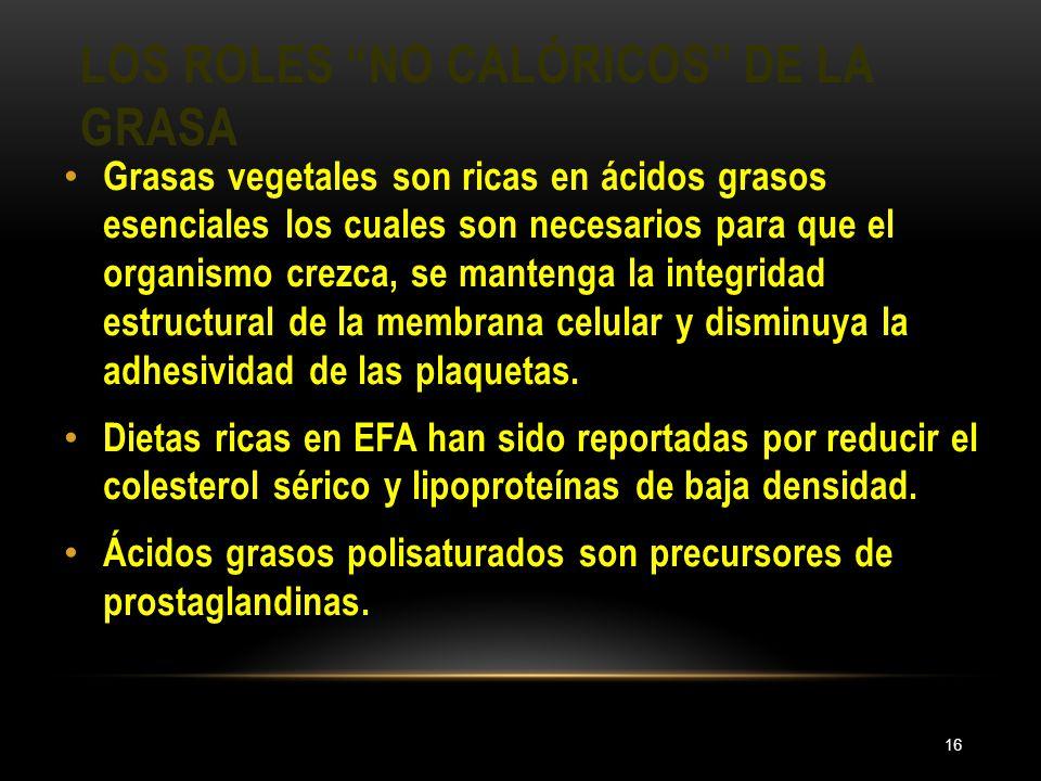 LOS ROLES NO CALÓRICOS DE LA GRASA 16 Grasas vegetales son ricas en ácidos grasos esenciales los cuales son necesarios para que el organismo crezca, s