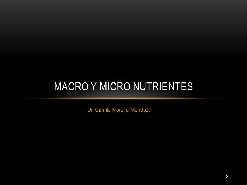 2 Dr. Camilo Moreira Mendoza MACRO Y MICRO NUTRIENTES