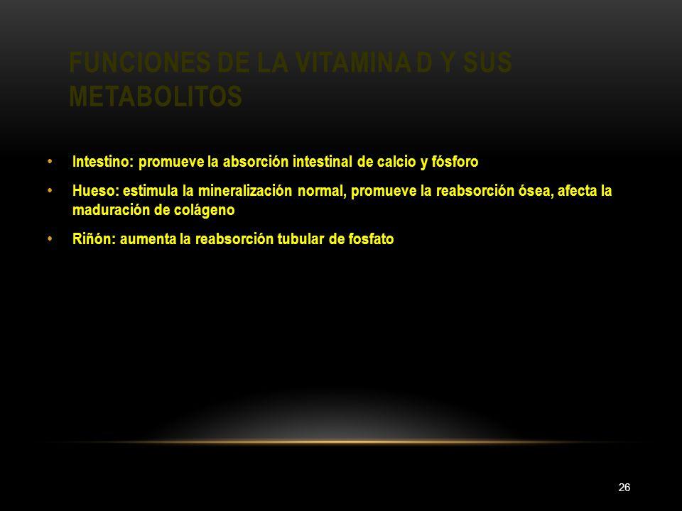 FUNCIONES DE LA VITAMINA D Y SUS METABOLITOS 26 Intestino: promueve la absorción intestinal de calcio y fósforo Hueso: estimula la mineralización norm