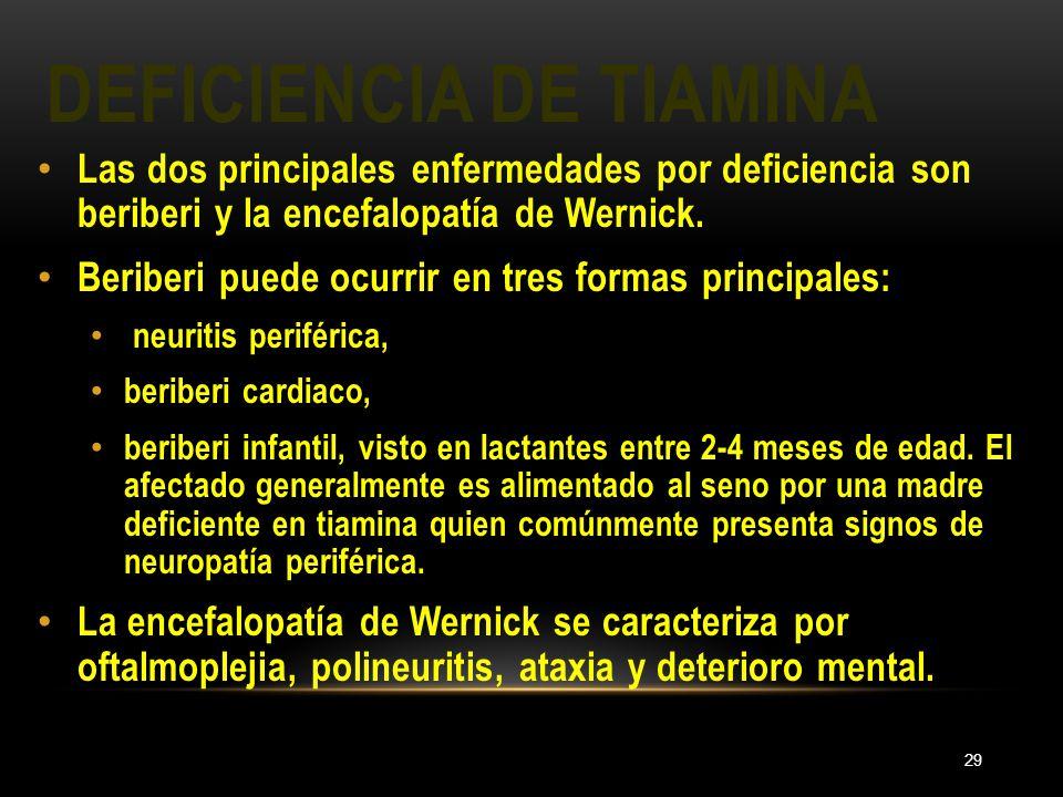 DEFICIENCIA DE TIAMINA 29 Las dos principales enfermedades por deficiencia son beriberi y la encefalopatía de Wernick. Beriberi puede ocurrir en tres