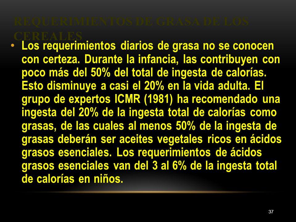 REQUERIMIENTOS DE GRASA DE LOS CEREALES 37 Los requerimientos diarios de grasa no se conocen con certeza. Durante la infancia, las contribuyen con poc