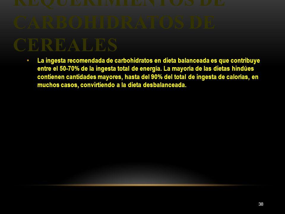 REQUERIMIENTOS DE CARBOHIDRATOS DE CEREALES 38 La ingesta recomendada de carbohidratos en dieta balanceada es que contribuye entre el 50-70% de la ing