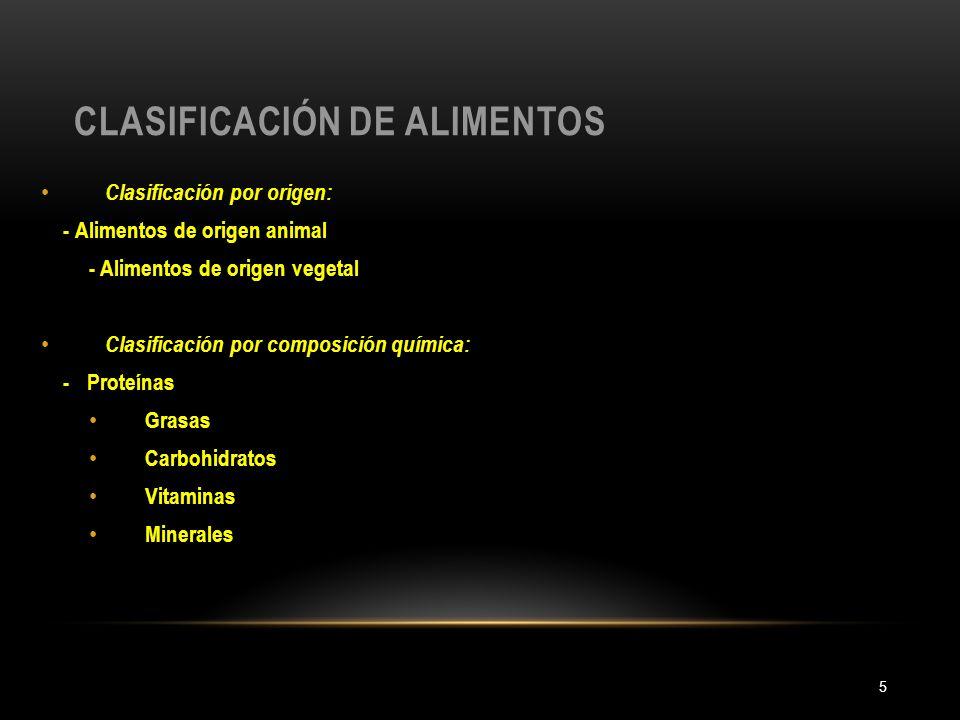 CLASIFICACIÓN DE ALIMENTOS 5 Clasificación por origen: - Alimentos de origen animal - Alimentos de origen vegetal Clasificación por composición químic