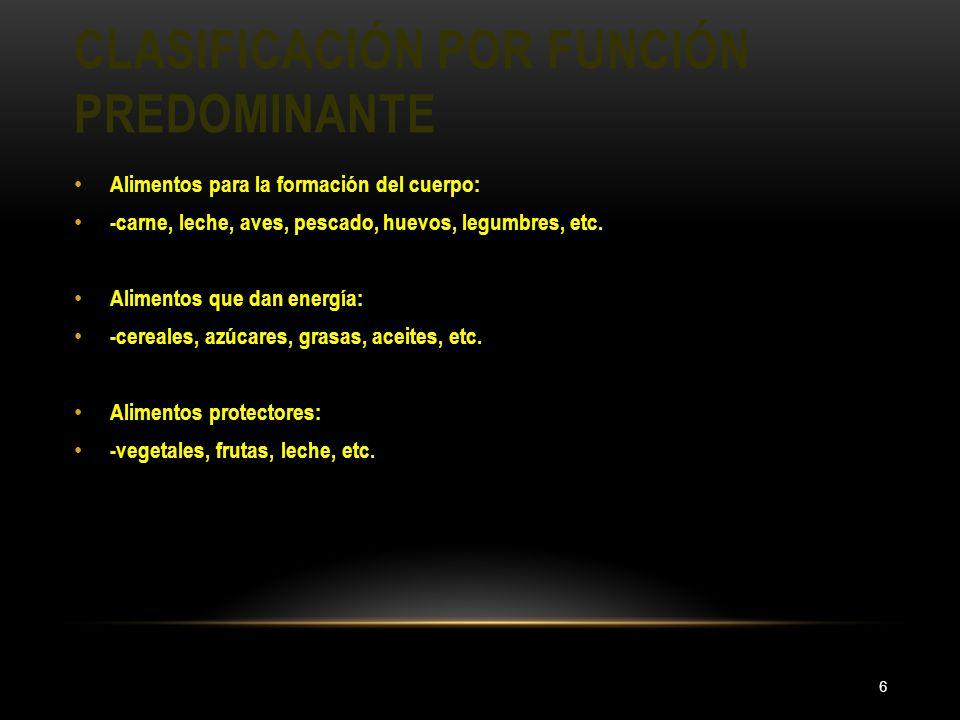 CLASIFICACIÓN POR FUNCIÓN PREDOMINANTE 6 Alimentos para la formación del cuerpo: -carne, leche, aves, pescado, huevos, legumbres, etc. Alimentos que d