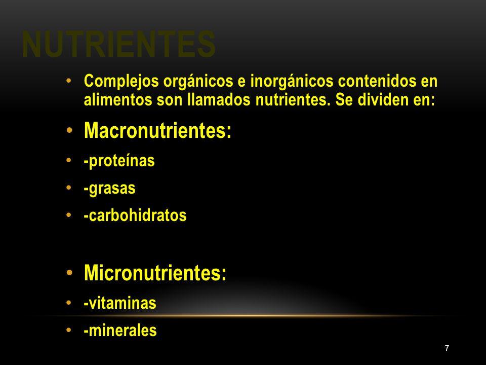 NUTRIENTES 7 Complejos orgánicos e inorgánicos contenidos en alimentos son llamados nutrientes. Se dividen en: Macronutrientes: -proteínas -grasas -ca