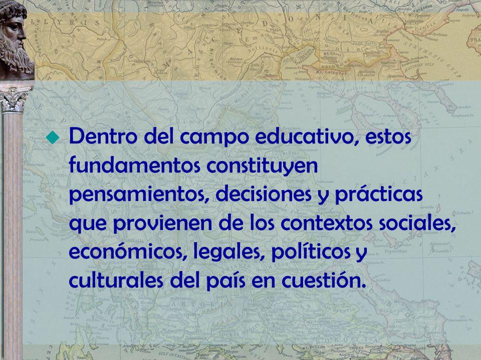 Dentro del campo educativo, estos fundamentos constituyen pensamientos, decisiones y prácticas que provienen de los contextos sociales, económicos, le