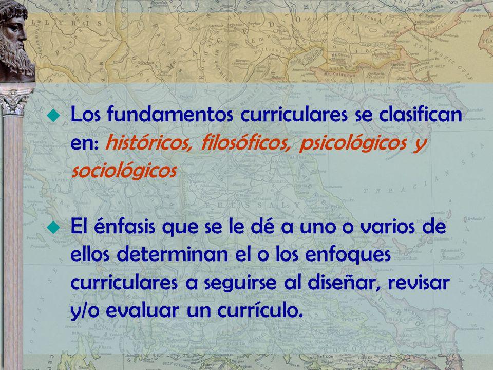 Los fundamentos curriculares se clasifican en: históricos, filosóficos, psicológicos y sociológicos El énfasis que se le dé a uno o varios de ellos de