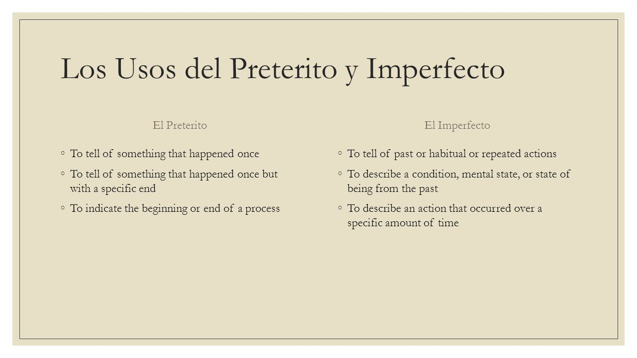 Los Usos del Preterito y Imperfecto El Preterito To tell of something that happened once To tell of something that happened once but with a specific e