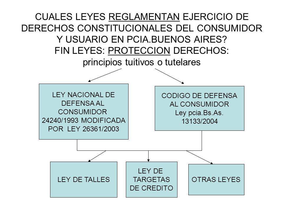 CUALES LEYES REGLAMENTAN EJERCICIO DE DERECHOS CONSTITUCIONALES DEL CONSUMIDOR Y USUARIO EN PCIA.BUENOS AIRES? FIN LEYES: PROTECCION DERECHOS: princip
