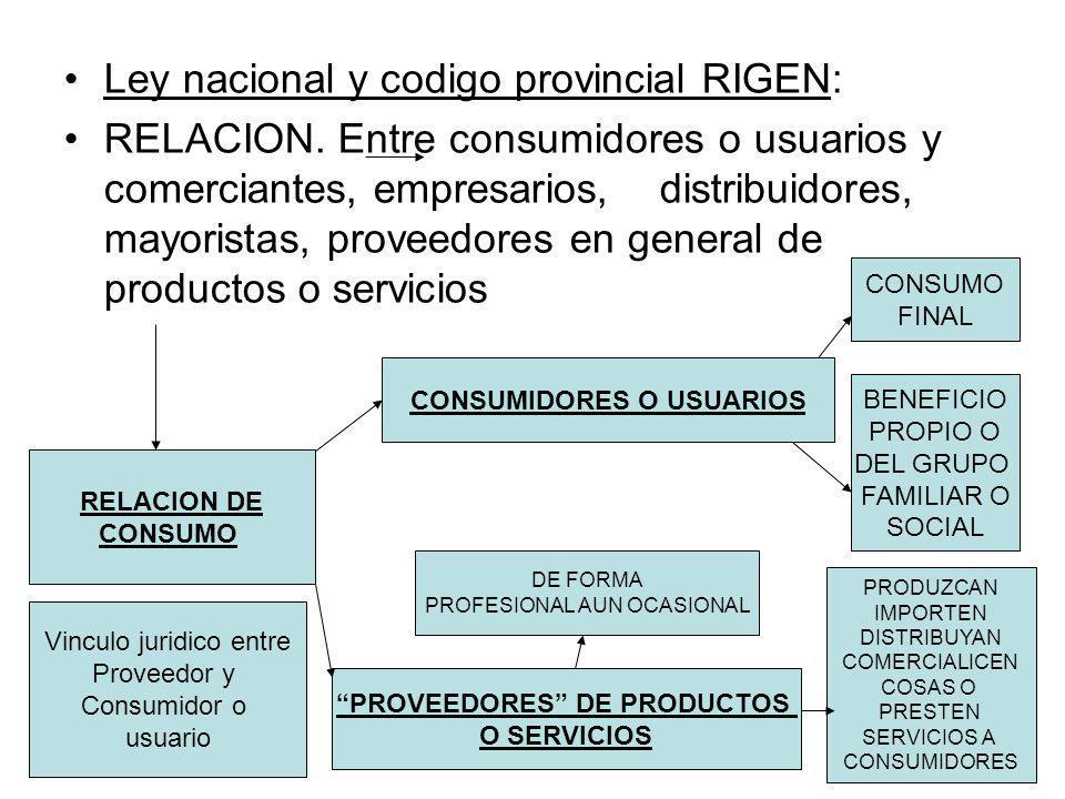 Ley nacional y codigo provincial RIGEN: RELACION. Entre consumidores o usuarios y comerciantes, empresarios, distribuidores, mayoristas, proveedores e