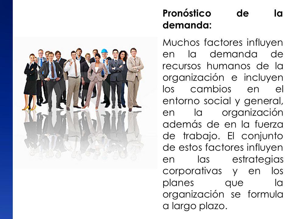 Pronóstico de la demanda: Muchos factores influyen en la demanda de recursos humanos de la organización e incluyen los cambios en el entorno social y