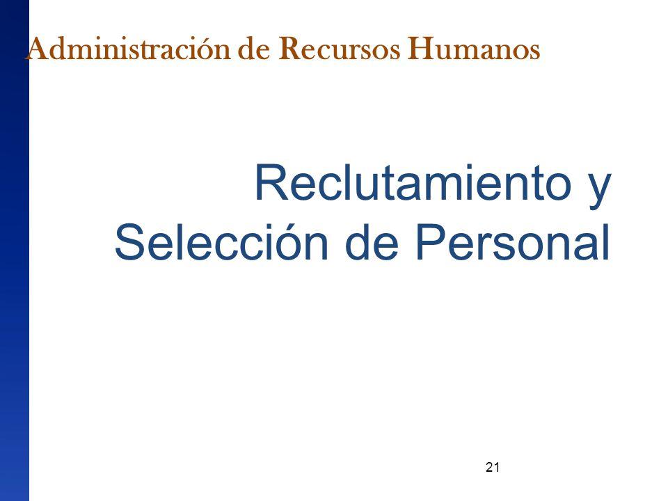 21 Reclutamiento y Selección de Personal Administración de Recursos Humanos